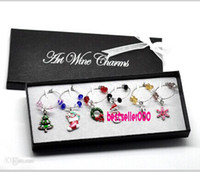 Indoor Christmas Decoration wine glass box - 1 Box Mixed Christmas Wine Glass Charms Table Decorations W Box X mas Tree Stocking Wreath Snowmen Snowflake Candy Cane x25mm x25mm