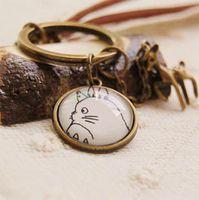 length 18cm, Gem 18mm leather key ring - Vintage Handmade creative Keychain fresh Paris tower bird Chinchilla lace leather key ring pendant three paragraph NS ys03