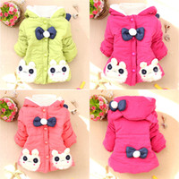 Wholesale Girls Kids Baby Toddler Fur Rabbits Bunny Winter Coat Jacket Snowsuit Outwear