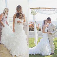 Church Sweetheart Backless Organza Crystal Bridal Dress Merm...