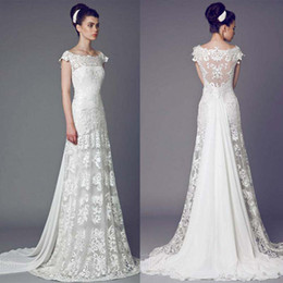 Wholesale 2014 News Bridal Dress Sheer Scoop Neck See Though Sweep Train Wedding Gowns Cap Sleeve Appliques Lace Beach Wedding Dresses