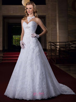 Wholesale 2015 Veatidos Sexy A Line Wedding Dresses White Sweetheart Lace Appliques Beads Covered Button Back Bridal Gowns With Detachable Train LT96