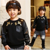 Wholesale Handsome Boys Long Sleeve Shirts Leather Sleeve Sweater Children Boys Clothing Round Collar Cotton Shirts Fashion Kids Tops Clothing L0155