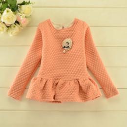 Wholesale Girls Long Sleeve Shirts Autumn Cotton Brooch Embossed Dress Shirts Undershirt Girl Tops Children Clothing Blue Orange Brown K1464