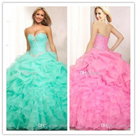 quinceanera dress - LM Quinceanera Dresses Strapless Sweetheart Beaded Lace Up Back Blue Pink Cascading Ruffles Ball Gown Special Quinceanera Dress