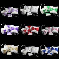 Wholesale 4Pcs set Colors Satin Wedding Decoration Gift Set Ring Pillow Flower Basket Guest Book Pen Set Wedding Product Supplies
