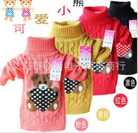 Wholesale Retail Hot baby cute bear knitted turtleneck sweater autumn and spring2 years old