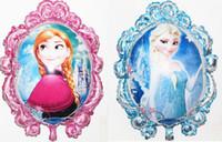 aluminum foil mirror - New arrival Cartoon Aluminum Party decoration Double sided magic mirror Frozen Princess Queen Anna Balloon Foil Ballon