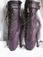 Wholesale 7 quot Ballet Pointe Extreme Fetish Hi Heel Laceup Purple Ankle Boot Bootie Patent PU BDSM