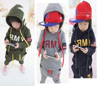 Unisex american clothing - Autumn Winter Baby Boys Girls Warm American Soldiers Clothing Sets Children Long Sleeve Suits Outdoor Sport Suit Unisex Kids SV007695