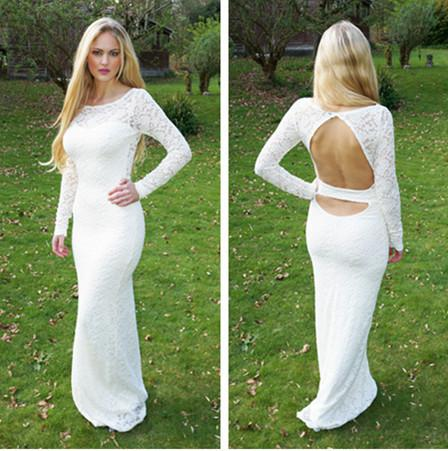 2014 White Lace Prom Dresses Long Sleeve Backless Wedding Dresses ...