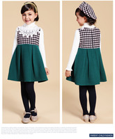 Wholesale Autumn family mother and daughter clothes sleeveless Houndstooth girl dresses Children Dressy Clothing Family Dress Alikes Black Pink F34