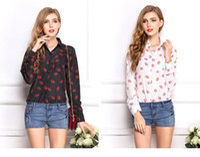 Cheap 2014 Women Fashion Plus Size Blouse Chiffon Shirts Lip Print Tops Full Sleeve Slim All-Match Clothes Brand Summer Wear CL2018