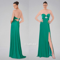 Reference Images Sweetheart Chiffon A-Line Peacock Green Chiffon Split Side Prom Dresses Beaded Sweetheart Sleeveless Popular Formal Gowns Dresses Pageant Dress 98686
