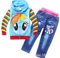 Wholesale 9 off In Stock free gift my little pony Children s suit long sleeved hooded sweater jeans DROP SHIPPING hot sale on sale TM