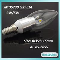 Wholesale 10PCS LED Chandelier Crystal Bulb W W AC V Input High Brightness SMD5730 Chips E14 LED Candle Light
