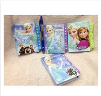 Wholesale 4 styles New Frozen elsa anna princess daily memos for gift with key password lock notebook journal travel student gift frozenc686