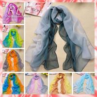 Scarves fabric silk georgette - 2014 Winter Scarf Chiffon Imitated Silk Fabric Print Scarf Women Shawl Scarves Gradual Colors Georgette Female RL