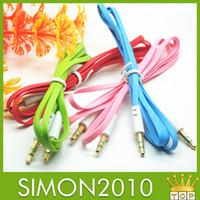 Wholesale 1M flat earphone jack cord noodle style Auxiliary Aux Audio Cable mm Jack Male to Male Cord for iphone plus S C for Samsung