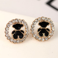 Wholesale Girls special new cute little animal bears round diamond studded earrings drip Yiwu small jewelry manufacturers supply