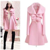 Women solid - 2014 New Winter Women s Wool Coats Long Jackets Slim Outwear Turn Down Collar Solid Ruffled Coat