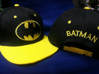 Wholesale New Fashion Kids Cartoon Batman Black Yellow Caps Children Boys Girl Snapback Sun Hat Baseball Cap Big Boy Gift Free Ship