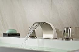 Wholesale New Waterfall Nickel Brushed Bathroom Basin Faucet Dual Handles Sink Mixer Tap