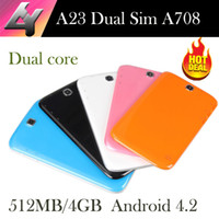 Wholesale Allwinner A23 Dual Sim Dual standby inch Tablets pc Android4 Dual core MB GB Bluetooth A708