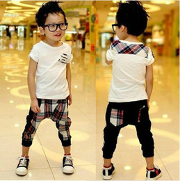 Wholesale 2013 Summer England Style Pure cotton Children Clothes Kids Set White t shirt cell Harem pants boys suit set Retail