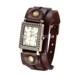 2014 New Women's Vintage Rectangle Dial Genuine Leather Band Quartz Analog Wrist Watch Women Clocks