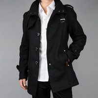 Wholesale 2016 New Arrival Mens Trench Coat Fashion Slim Fit Jackets Winter Long Section Stand Collar Overcoat Plus Size M XL