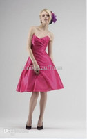 Reference Images Satin Sweetheart 2014 Real Image Fuchsia Backless Homecoming Dresses Corset Sweetheart Neck Strapless A Line Satin Short Prom Dress Pleated Formal Dresses