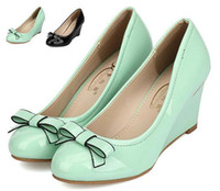 Women almond candy - candy color mint green shoes with bowtie fashion women wedge heel black patent leather office shoes CM colors size to