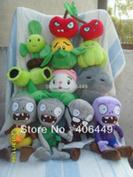 Unisex 5-7 Years Gray 11PCS Plants vs zombies Purple zombies, strawberry, pea shooter Children's toys PVZ Plush dolls With sucker M25