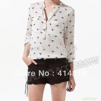 Cheap New Wholesale Chiffon Dog Shirts Women White Color Full Sleeve Tops S M L Sizes V-Neck Blouses Fashion Women's Shirts fk651696