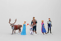 Wholesale 6Pcs Frozen Figure Toy Princess Elsa and Anna Queen Action Figure Doll Classic Toys Retail