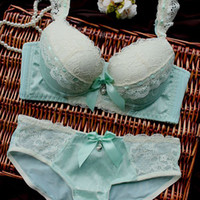Bra Sets panties and bras - Hot sale noble royal women underwear chiffon embroidery luxurious young girl panties bra set