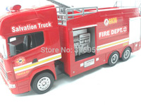 Airplanes Electric 2 Channel New Fire Engine Remote Control Fire Salvation Truck Scale 1:18 Fire Fighting Truck Model with spray water electronic toys