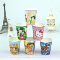 Wholesale free shinppingChildren s cartoon party dress birthday party cups disposable tableware drink six cups of environmental protection equipment