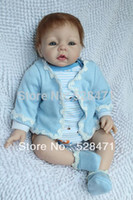 "Unisex Birth-12 months Vinyl High Quality 52cm Reborn Baby 22"" silicon vinyl boy doll with blue eyes so cute toy for birthday gift"