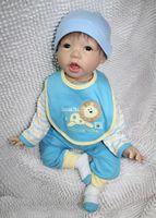 "Unisex Birth-12 months Vinyl 22"" New Silicone vinyl Reborn babies Lifelike Reborn Baby Doll smiling real baby doll"