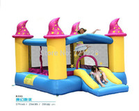 Wholesale 2014 inflatable trampoline sports equipment Leap the bed jumping bed Inflatable Trampoline with Enclosure Net