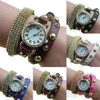 Women's Round 59 Women's Metal Golden Mesh Bracelet Rhinestone Faux Leather Band Quartz Wrist Watch 049J