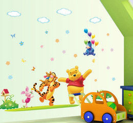 Wholesale Cartoon Animated large winnie the pooh Removable Nursery Wall Decal Stickers Art for Kids Room Living room Home Decoration Decor