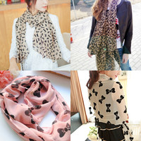 Wholesale velvet chiffon scarf spring new wave blue and white leopard print scarf manufacturers Crown Point