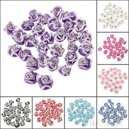 Wholesale 30Pcs Fashion Ceramic Rubber Rhinestone Rose Flower Color Nail Art D Decoration Nail tools B8