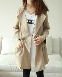 Wholesale 2014 New fashion outerwear Women s Coat Casual lace up buttons Slim Long jacket Dust coat Colors Size M L XL