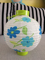 Wholesale Lamps white orchid circle battery light paper lantern battery light handmade paper lantern limited edition