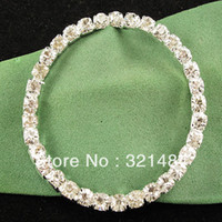 Wholesale BRS033 mm Grade A Crystal Rhinestone Silver Plated Tone Metal Round Buckle Ribbon Slider
