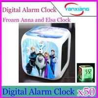Wholesale DHL LED Digital Frozen Clock Alarm Anna Elsa Thermometer Night Plastic Patterns YX JJ